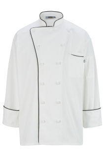 Edwards 12 Cloth Button Classic Chef Coat With Trim