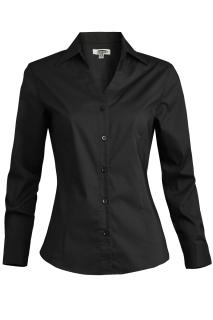Edwards Ladies Tailored V-Neck Stretch Blouse-Long Sleeve