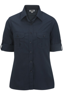 Edwards Ladies Poplin Roll Up Sleeve Shirt