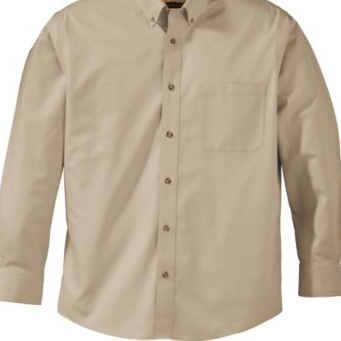 Khaki Oxford- Long Sleeve Shirt (Adult Sizes S-4XL)