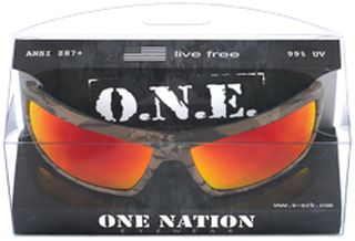 Live Free Camo, Red Mirror lenses, Boxed-ERB Safety