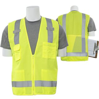 61226 S205 Class 2 Tricot Mesh Surveyor Hi Viz Lime 2X-