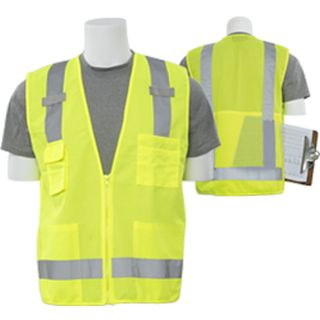 61227 S205 Class 2 Tricot Mesh Surveyor Hi Viz Lime 3X-