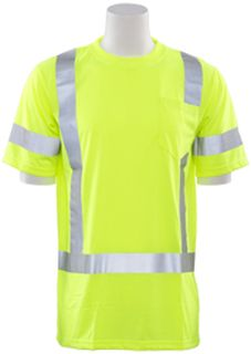 61278 9801S Class 3 Short Sleeve T Shirt Hi Viz Lime MD-
