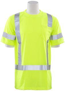 61279 9801S Class 3 Short Sleeve T Shirt Hi Viz Lime LG-