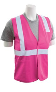 61335 S762P Non ANSI Tricot Hook & Loop Closure Hi Viz Pink 3X-