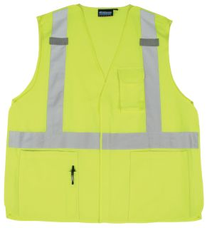 61375 S360 Class 2 Woven Oxford Break Away Hi Viz Lime MD-