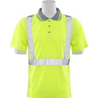 61466 S369 Class 2 Polo Shirt Jersey Knit Hi Viz Lime Large-