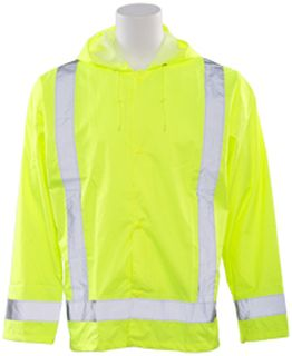 61497 S373 Class 3 Lightweight Oversized Rain Jacket Hi Viz Lime 3X 4X-