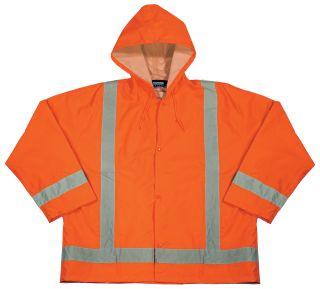 61500 S373 Class 3 Lightweight Oversized Rain Jacket Hi Viz Orange MD LG-