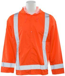 61503 S373 Class 3 Lightweight Oversized Rain Jacket Hi Viz Orange 5X 6X-