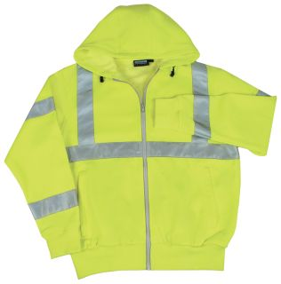 61525 W375 Class 3 Hooded Sweatshirt Hi Viz Lime MD-ERB Safety