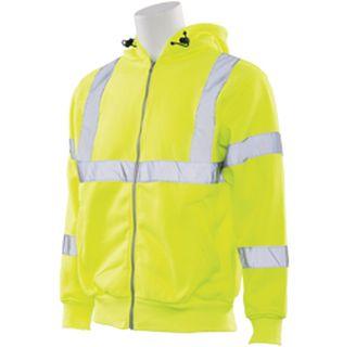 61528 W375 Class 3 Hooded Sweatshirt Hi Viz Lime 2X-