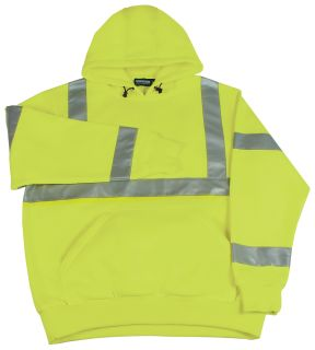 61541 W376 Class 3 Hooded Sweatshirt Pull over Hi Viz Lime LG-ERB Safety