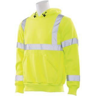 61542 W376 Class 3 Hooded Sweatshirt Pull over Hi Viz Lime XL-