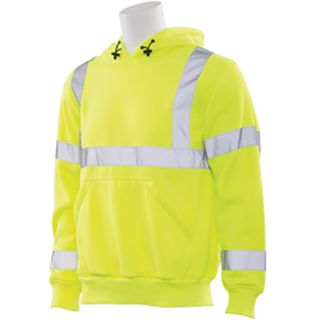 61544 W376 Class 3 Hooded Sweatshirt Pull over Hi Viz Lime 3X-
