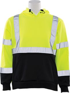 61551 W376B Class 2 Hooded Sweatshirt pullover Hi Viz Lime & Black 2X-
