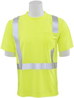 61671 9006S Class 2 Short Sleeve with Reflective Tape Birdseye Knit Mesh Hi Viz Lime LG-