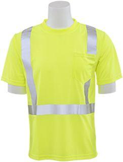61673 9006S Class 2 Short Sleeve with Reflective Tape Birdseye Knit Mesh Hi Viz Lime 2X-