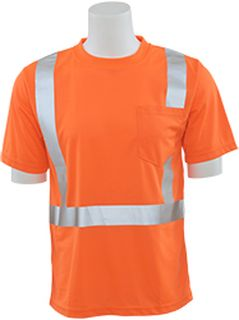 61678 9006S Class 2 Short Sleeve with Reflective Tape Birdseye Knit Mesh Hi Viz Orange LG-