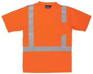61781 9601S Class 2 Short Sleeve with Reflective Tape Hi Viz Orange MD-