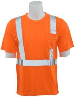 61782 9601S Class 2 Short Sleeve with Reflective Tape Hi Viz Orange LG-