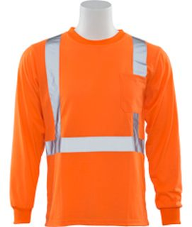 61805 9602S Long Sleeve T Shirt Hi Viz Orange 5X-