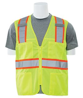 61837 S149 Class 2 Mesh Hi Viz Lime Contrasting Trim Surveyor 5X-