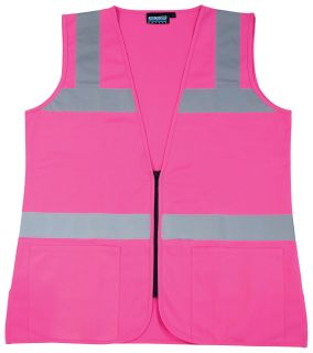 61909 S721 Non ANSI Ladies Fitted Tricot Hi Viz Pink Small-