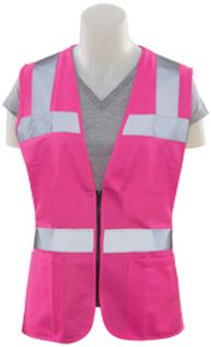 61913 S721 Non ANSI Ladies Fitted Tricot Hi Viz Pink 2X-