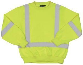 62000 W143 Class 3 Crew Neck Sweatshirt Hi Viz Lime MD-