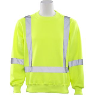 62002 W143 Class 3 Crew Neck Sweatshirt Hi Viz Lime XL-