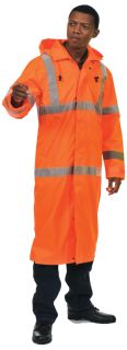 62035 S163 Class 3 Long Rain Coat Hi Viz Orange MD-