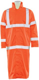 62038 S163 Class 3 Long Rain Coat Hi Viz Orange 2X-