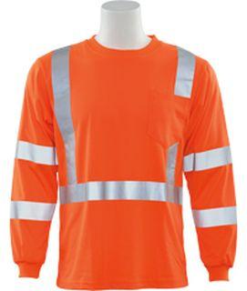 62130 9802S Class 3 Long Sleeve Hi Viz Orange LG-