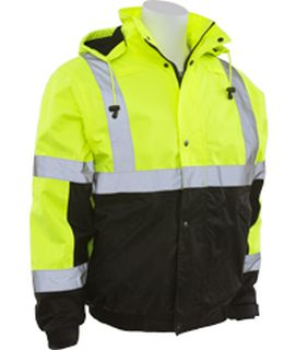 62170 W106T Tall Class 3 Bomber Jacket Hi Viz Lime and Black 4X-