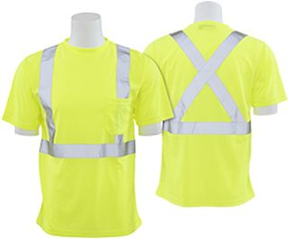 62182 9006SX Class 2 T Shirt with X Back Reflective Tape Birdseye Knit Mesh Hi Viz Lime LG-