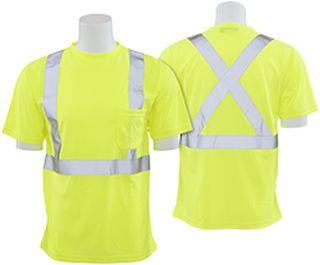 62185 9006SX Class 2 T Shirt with X Back Reflective Tape Birdseye Knit Mesh Hi Viz Lime 3X-