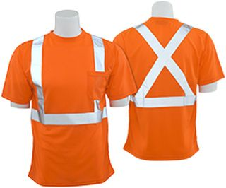 62190 9006SX Class 2 T Shirt with X Back Reflective Tape Birdseye Knit Mesh Hi Viz Orange LG-ERB Safety