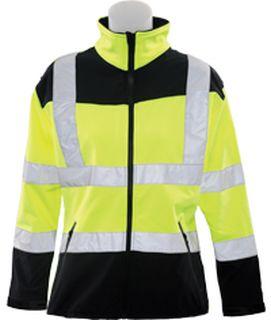 62198 W651 Class 2 Soft Shell Jacket Women's Hi Viz Lime LG-