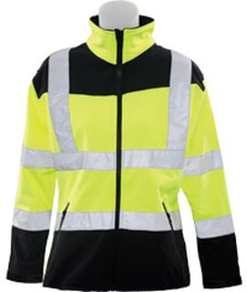 62199 W651 Class 2 Soft Shell Jacket Women's Hi Viz Lime XL-