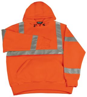 62235 W376 Class 3 Hooded Sweatshirt Pull over Hi Viz Orange MD-