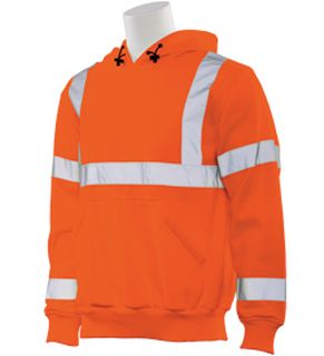 62239 W376 Class 3 Hooded Sweatshirt Pull over Hi Viz Orange 3X-ERB Safety