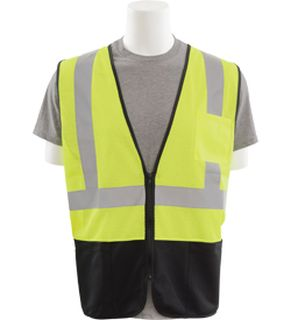 62250 S363PB Class 2 Black Bottom Mesh Economy Vest with Pockets Zipper Hi Viz Lime MD-