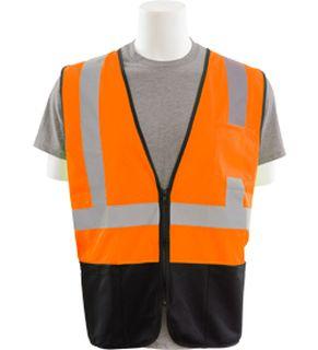 62257 S363PB Class 2 Black Bottom Mesh Economy Vest with Pockets Zipper Hi Viz Orange MD-