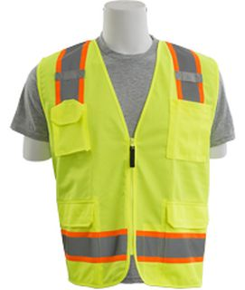 62370 S380SC ANSI Class 2 Surveyor Vest with Contrasting Trim Zipper Hi Viz Lime MD-