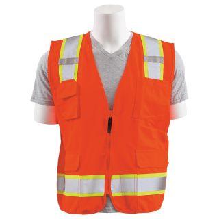 62381 S380SC ANSI Class 2 Surveyor Vest with Contrasting Trim Zipper Hi Viz Orange 3XL-