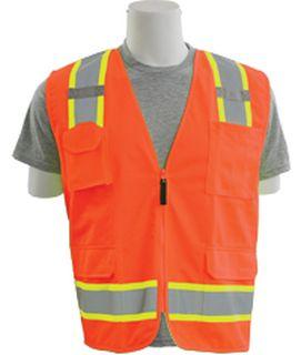 62383 S380SC ANSI Class 2 Surveyor Vest with Contrasting Trim Zipper Hi Viz Orange 5XL-