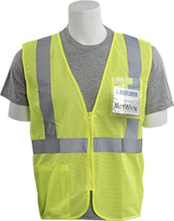 62660 S363ID Class 2 Mesh Economy With ID Badge Pocket Hi Viz Lime MD-