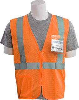 62668 S363ID Class 2 Mesh Economy With ID Badge Pocket Hi Viz Orange LG-